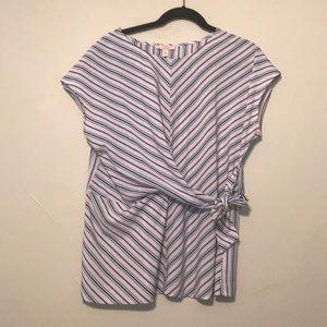 Come vintage size large striped wrap shirt.